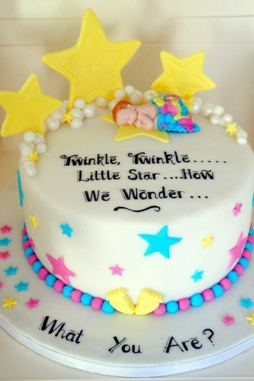 Baby gender reveal cake Twinkle Twinkle
