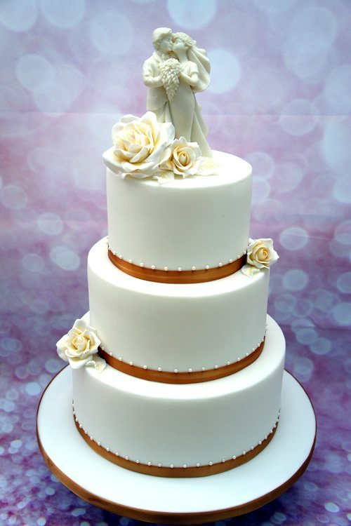 Wedding Cake Bridal White and Gold Rose Wedding Topper 3 Tier